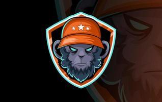 Gorilla Head Maskottchen für Sportverein oder Team. Tiermaskottchen. Vorlage. Vektorillustration. vektor