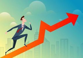 affärsman springer och hoppar på grafen med stadsbakgrund. vektor illustration företag