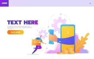 Online-Shopping-Person interagiert mit Shop. Zielseitenvorlage. flache isometrische Vektorillustration. vektor