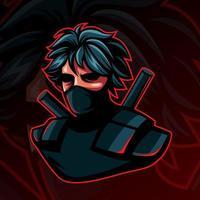 Ninja oder Assasin Maskottchen Charakter auf dunklem Hintergrund für Esport Lcon. vektor