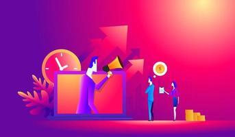 Zeitmanagement-Konzept. kleine Leute stehen in der Nähe von Laptop mit Chef online. Plakat für Webseite, Banner, Präsentation. flache Designvektorillustration vektor