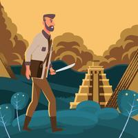 Treasure Hunter Quest För City Of Gold Illustration