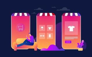 Quarantäne der Coronavirus-Epidemie. junger Mann kauft online ein. Konsum auf mobile Smartphone-App. zu Hause kaufen. überleben covid 19. flache Vektorillustration vektor