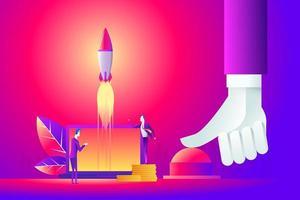 Geschäftskonzeptillustration einer Geschäftsmannhand, die Startknopf, Start, Kriegskonzept drückt. vektor