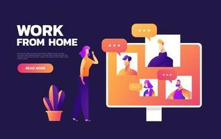Online-Remote-Meetings, TV-Video-Webkonferenz-Telefonkonferenz. Firmenchef Präsident Geschäftsführer Chef und Mitarbeiterteam arbeiten von zu Hause aus. vektor