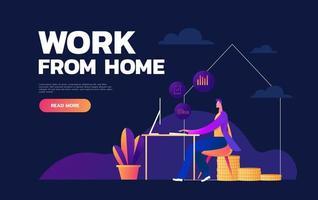 Arbeit zu Hause während eines Ausbruchs des Covid-19-Virus. Menschen arbeiten zu Hause in Quarantäne, um eine Virusinfektion zu verhindern. Mann arbeitet am Laptop zu Hause. flache Art der Vektorillustration