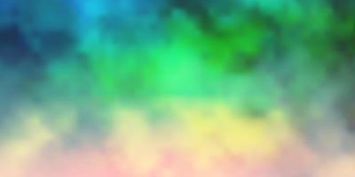 dunkles mehrfarbiges Vektorlayout mit Wolkenlandschaft.
