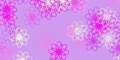 ljus lila vektor doodle mönster med blommor.
