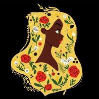 Seitenansicht der Frau mit Blumen in haur vektor