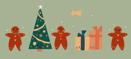 uppsättning av söta kawaii pepparkakor, gåvor och julgran