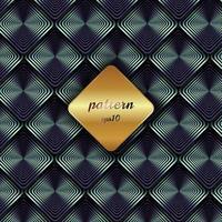 abstraktes metallisches geometrisches blaues quadratisches Muster mit Schatten und goldenem Hintergrundetikett. vektor