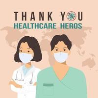 tack sjukvårdshjältar vektor