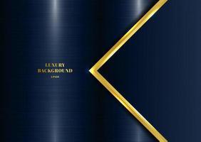 abstrakt mall geometrisk med gyllene kant och ljuseffekt blå metallisk bakgrund vektor