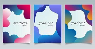 Satz von Broschürenschablonen abstrakte flüssige Gradientenform und Spaßfarbenmusterhintergrundbeschaffenheit.