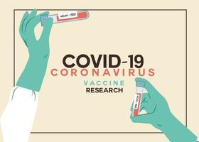 vektor illustration av händer som bär handskar som håller koronavirus provrör med blodprov eller virusvaccin.