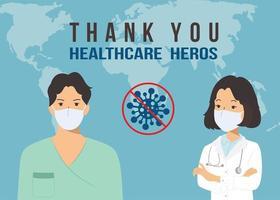 tack läkare och sjuksköterska för att bekämpa coronavirus covid-19 med modern platt stilvektor. vektor