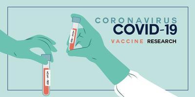 en hand i en medicinsk handske håller vaccinet från koronavirus. vektor