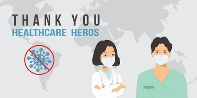 läkare och sjuksköterska - covid-19 pandemikoncept vektor