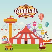Karikatur-Vergnügungspark mit Zirkus-, Karussell- und Achterbahnvektorillustration