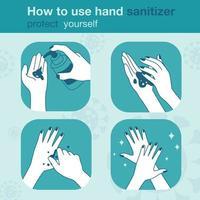 wie man Händedesinfektionsmittel richtig benutzt, medizinische Infografiken. Vektorillustration