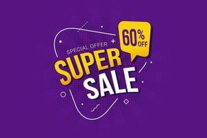 super försäljning rabatt specialerbjudande banner vektor