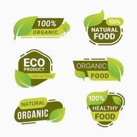 frische Naturprodukt Abzeichen gesunde vegetarische Lebensmittel Produkte Aufkleber und Etiketten vektor