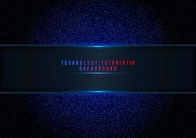 abstrakt blå halvton glittrande effekt med prick radiellt mönster och glödande ljus på mörk bakgrund vektor