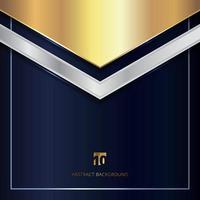 abstrakt guld- och silvermetallisk geometrisk triangelrubrik på blå bakgrund. vektor