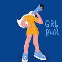 tecknad vektorillustration av porträtt av kvinna som ropar med en megafon. vektor