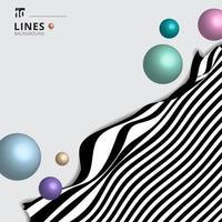 abstrakte gestreifte Schwarzweiss-gekrümmte Linie Streifenwellenhintergrund mit 3D-Kreisen Kugeln glänzende Pastellfarbe. vektor