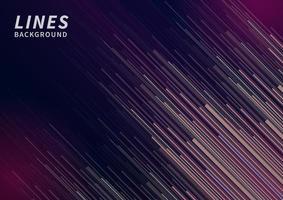 abstraktes rosa, lila, grünes Geschwindigkeitslinien-Diagonalmuster auf dunkelblauem Hintergrund. vektor