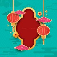 chinesischer dekorativer Hintergrund für Neujahrsgrußkarte vektor