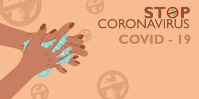 Waschen Sie Ihre Hände mit Seife, um sich vor Viren zu schützen vektor