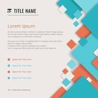 täcka modern mall med blå och orange geometriska fyrkantiga mönster överlägg på vit bakgrund med plats för din text. vektor
