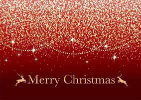 abstrakt röd julbakgrund med guldglitterpartiklar och textutrymme. vektor