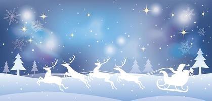 julillustration med jultomten och renar i en snöig skog. vektor