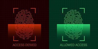uppsättning tillåten och nekad åtkomst via fingeravtryck vektor