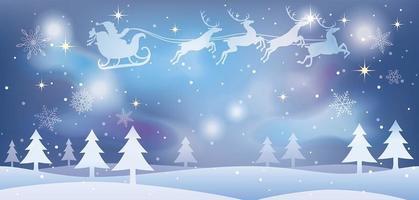 julillustration med jultomten och renar som flyger över en snöig skog. vektor