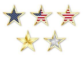 setze goldene realistische Sterne mit amerikanischer Flagge vektor