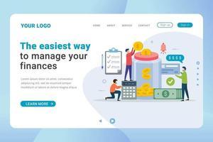 Landingpage-Vorlage Finanzmanagement-Design-Konzept
