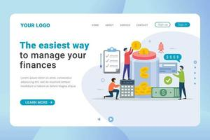 Landingpage-Vorlage Finanzmanagement-Design-Konzept vektor