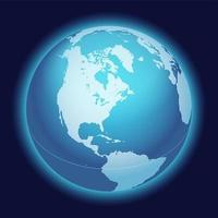 världen världen karta. Nordamerika centrerad karta. blå planet sfär ikon på en mörk bakgrund.