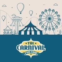 vektorillustrationer av karnevalscirkus med tält och karuseller
