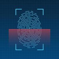 Scannen des Fingerabdrucks auf der Bildschirmvektorillustration vektor