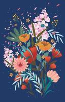 schöne Blumen entspringen mit blauer Farbe vektor