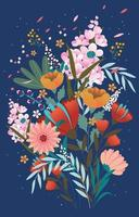 vackra blommor våren med blå färg vektor