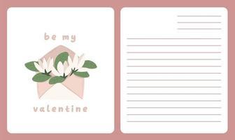 Valentinstag Karte Widmungsnotiz Liebesbrief niedlichen skandinavischen Cartoon Design vektor