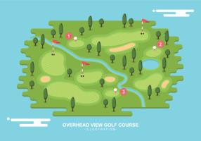 Obenliegende Ansicht-Golfplatz-Illustration vektor