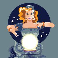Fortune Teller tittar på Crystal Ball vektor