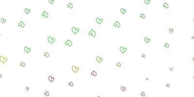 ljusgrön, röd vektormall med doodle hjärtan.
